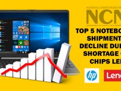 Top 5 notebooks shipments decline due to Shortage of chips led